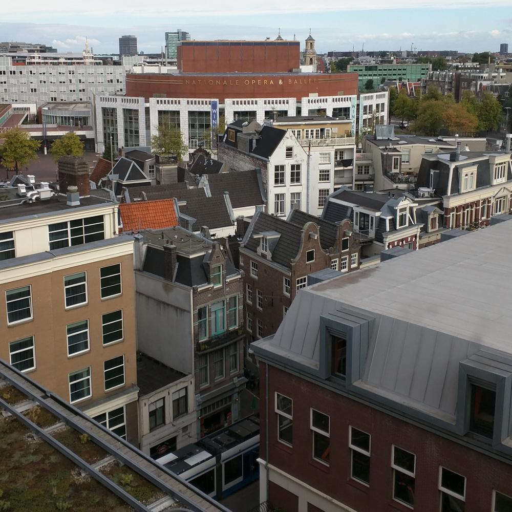 The view of Amsterdam from the Booking.com building, where the meetup was held