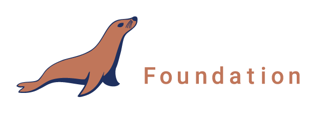 MariaDB Foundation Logo. Horizontal orientation. For use over dark backgrounds.