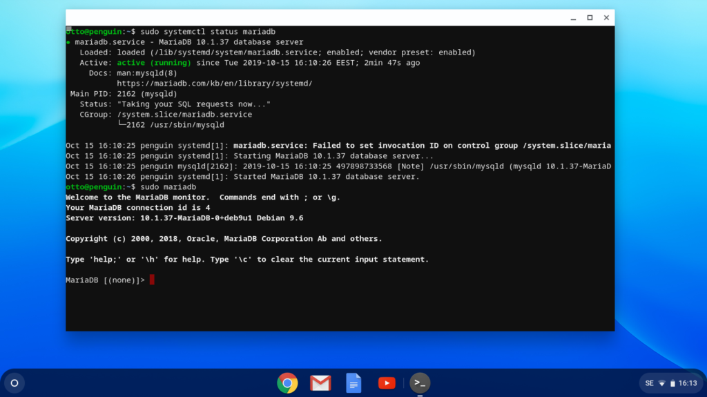 Chromebook running MariaDB