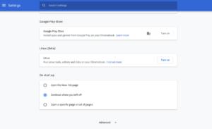 Chromebook settings: Linux
