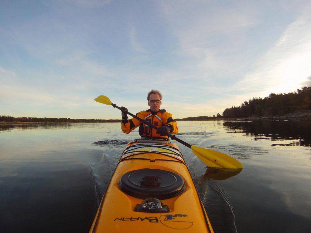 Kayaking on peaceful waters in Nagu, Finland