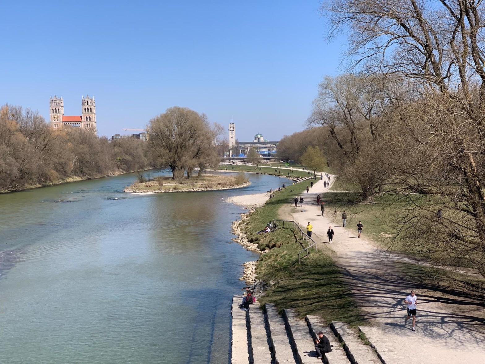 Running on the Isar in Munich, Germany