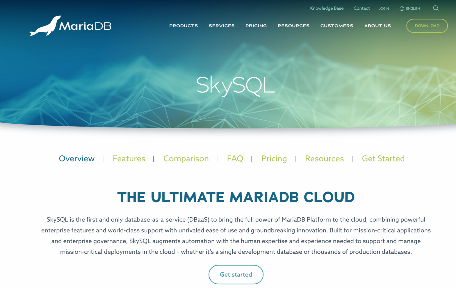 MariaDB Corporation page on SkySQL